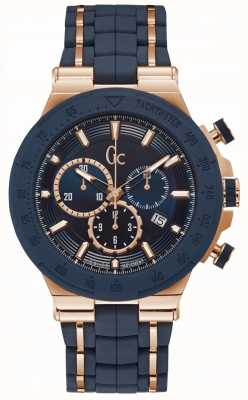 Gc Mens Structura Sport Chronograph Blue/rose Gold Y35002G7