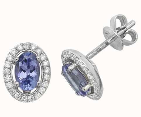 James Moore TH 9k White Gold Tanzanite Diamond Halo Stud Earrings ED247WT