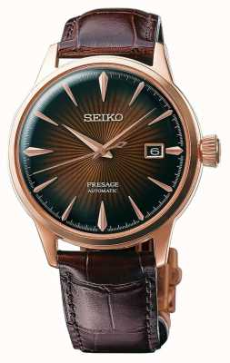 Seiko Presage Cocktail Automatic Rose Gold Case Brown Leather SRPB46J1