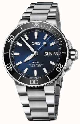 ORIS Mens Aquis Big Day Date Blue Dial Metal Bracelet 01 752 7733 4135-07 8 24 05PEB