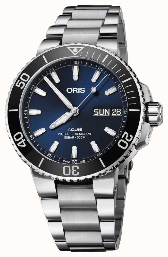 66f551b06e455 Oris Mens Aquis Big Day Date Blue Dial Metal Bracelet 01 752 7733 ...