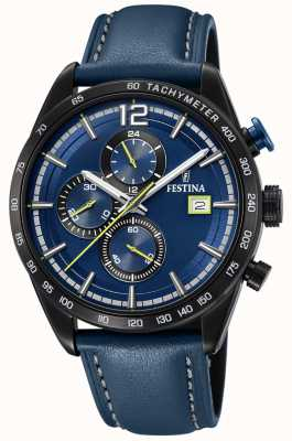 Festina Mens Sport Chronograph Blue Leather Strap Blue Dial F20344/2