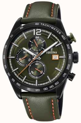Festina Mens Sport Chronograph Green Leather Strap Green Dial F20344/6