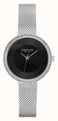 Kenneth Cole Womens Diamond Set Black Dial Stainless Steel Mesh KC50198002