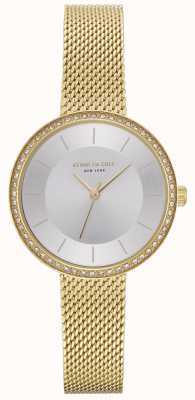 Kenneth Cole Womens Diamond Set Gold Mesh Watch KC50198005