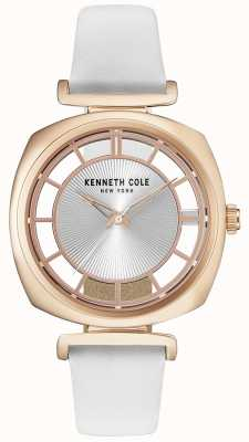 Kenneth Cole Womens Roase Gold Case On A White Leather Strap KC15108003