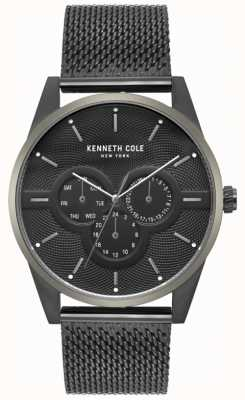 Kenneth Cole Mens Multi Dial Black Mesh Bracelet Watch KC15205005