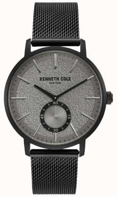Kenneth Cole Mens Black Case Grey Subdial Watch With Black Mesh Bracelet KC50055001