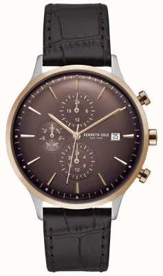 Kenneth Cole Mens Red Chronograph Watch On A Brown Croc Leather Strap KC15181005