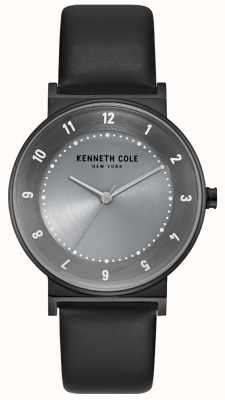 Kenneth Cole Womens Gunmetal Case With Black Leather Strap KC50074001