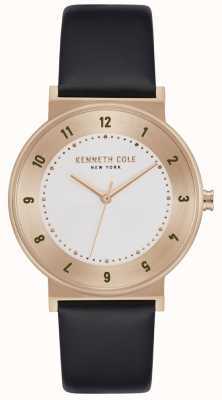 Kenneth Cole Classic Rose Gold Case Black Leather Strap KC50074003