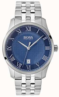 Boss Mens Master Blue Dial Stainless Steel Bracelet Watch 1513602