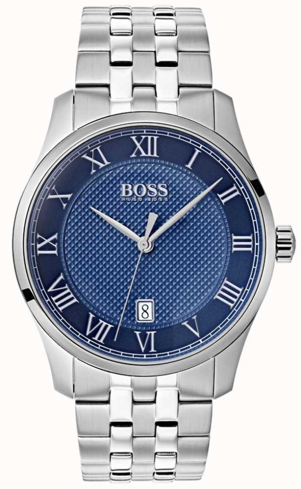 8e1eff6d85bf5 BOSS Mens Master Blue Dial Stainless Steel Bracelet Watch