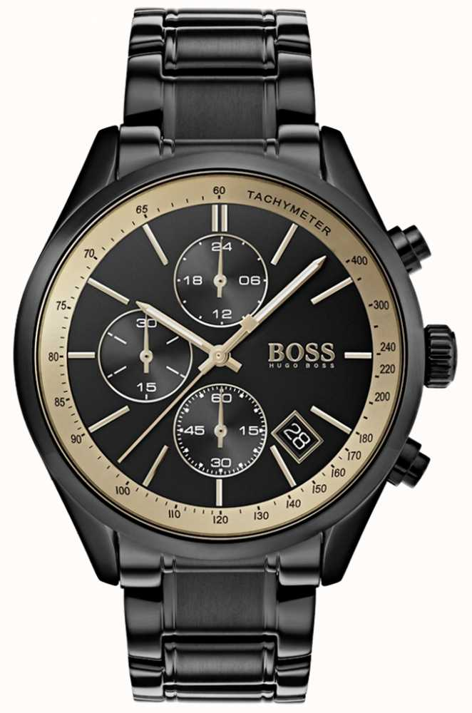 90597b12b5b41 Hugo Boss Mens Grand Prix Black IP Gold Accent Watch 1513578 - First ...