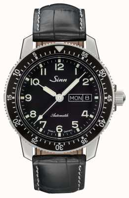 Sinn 104 St Sa A Classic Pilot Watch Black Leather Strap 104.011 BLACK ALLIGATOR EFFECT WHITE STITCH