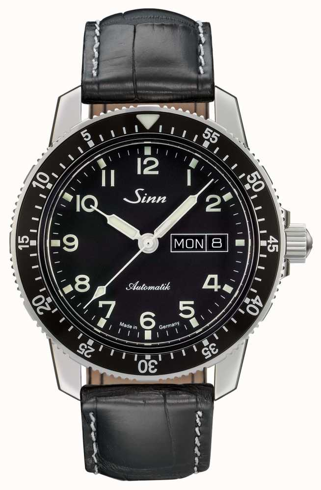 Sinn 104.011 BLACK ALLIGATOR EFFECT WHITE STITCH
