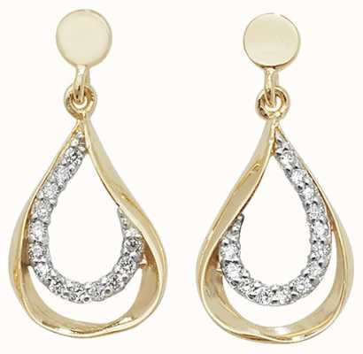Treasure House 9k Yellow Gold Cubic Zirconia Drop Earrings ES455