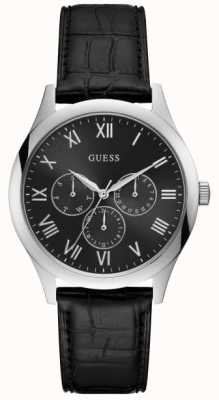 Guess Mens Watson Black Leather Strap Black Dial W1130G1
