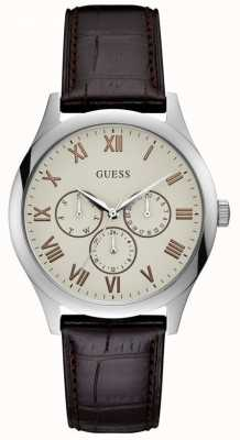 Guess Mens Watson Brown Leather Strap Cream Dial W1130G2
