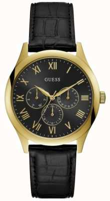 Guess Mens Watson Black Leather Strap Black Dial W1130G3