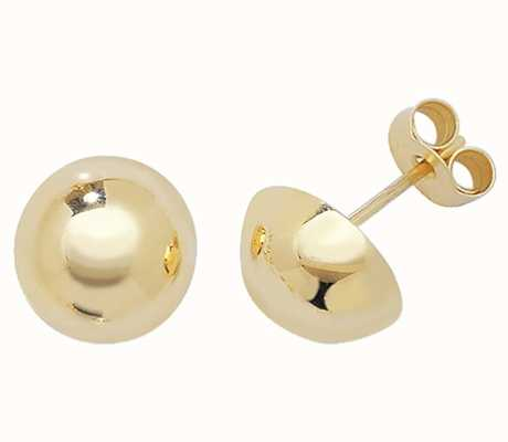 Treasure House 9k Yellow Gold Dome Stud Earrings 9 mm ES392