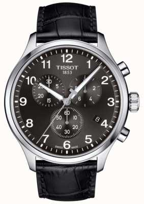 Tissot Mens T-sport XL Chronograph Black Dial Black Leather Strap T1166171605700