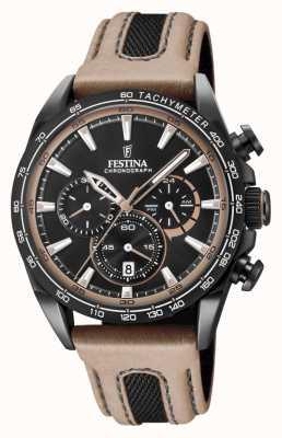 Festina Mens Black PVD Plated Chrono Watch Leather Strap F20351/1
