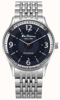 Ben Sherman Mens Script Blue Dial Stainless Steel Bracelet Watch BS001USM