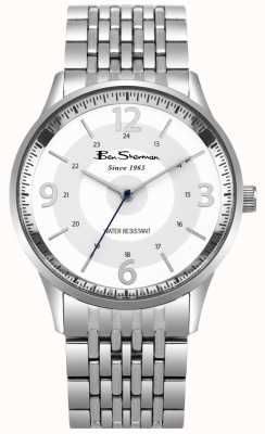 Ben Sherman Mens Script White Dial Stainless Steel Bracelet Watch BS001SM