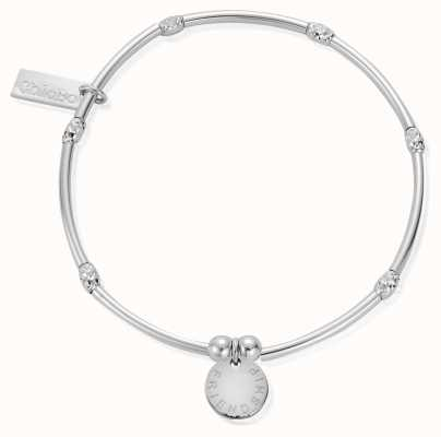 ChloBo Silver Mini Noodle Sparkle Rice Friendship Disc Bracelet SBMNSR089