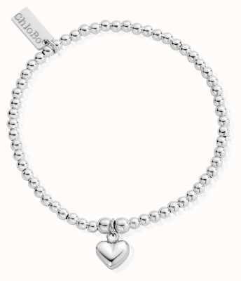 ChloBo Sterling Silver 18cm Cute Charm Puffed Heart Bracelet SBCC023