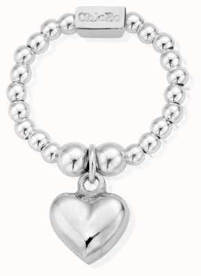 ChloBo Sterling Silver Mini Puffed Heart Ring Medium SRM2023