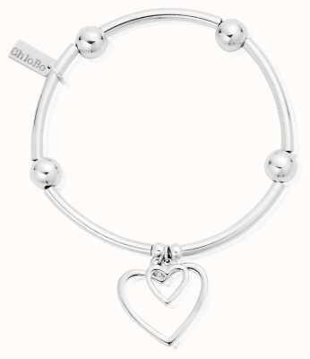 ChloBo Sterling Silver Noodle Ball Double Open Heart Bracelet SBNB007028