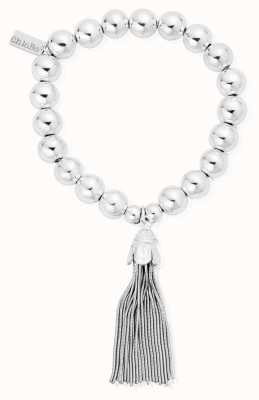 ChloBo Silver Medium Ball Tassel Bracelet SBMB948
