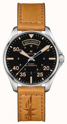 Hamilton Khaki Pilot Day Date Auto Brown Leather Strap H64645531