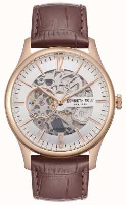 Kenneth Cole Mens Rose Gold Case Silver Skeleton Dial Brown Croc Leather KC50224002