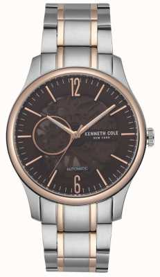 Kenneth Cole Mens Stainless Steel Rose Gold Case Brown Skeleton Dial KC50224004