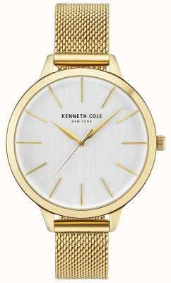 Kenneth Cole Womens Gold Case White Dial Gold Mesh Bracelet KC15056011