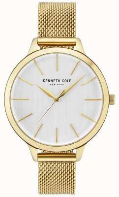 Kenneth Cole Womens Gold Case White Dial Gold Mesh Bracelet KC15056011