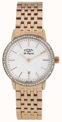 Rotary Womens Rose Gold Plated Bracelet Crystal Watch LB90054/06