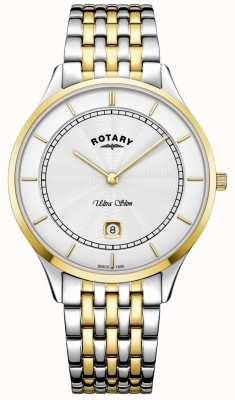 Rotary Mens Ultra Slim White Dial Gold Case Stainless Steel Watch GB08301/02