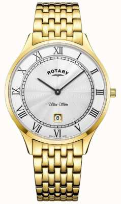 Rotary Mens Ultra Slim White Dial Gold Tone Stainless Steel Watch GB08303/01