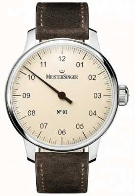 MeisterSinger No. 1 40mm And Wound Sellita Suede Brown Strap DM303