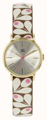 Orla Kiely Womens Patricia Tan And Pink Print Strap Watch OK2202