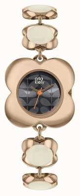 Orla Kiely Womens Poppy Rose Gold Case Enamel Flower Link Bracelet OK4078