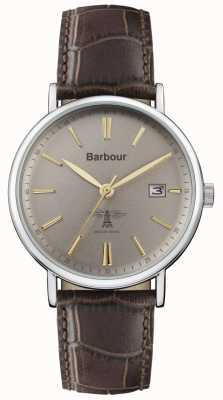 Barbour Mens Bamburgh Brown Leather Strap Grey Dial BB069GYBR