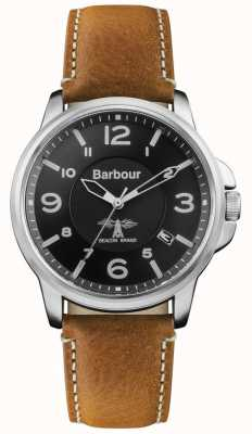 Barbour Mens Barnard Brown Leather Strap Black Dial BB072BKBR