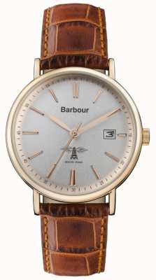 Barbour Mens Bamburgh Brown Leather Strap Grey Dial BB069SLBR