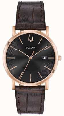 Bulova Mens Dress Watch Brown Leather Strap Black Dial 97B165