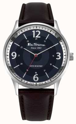 Ben Sherman Mens Navy Dial Brown Leather Strap Script Watch BS001UBR